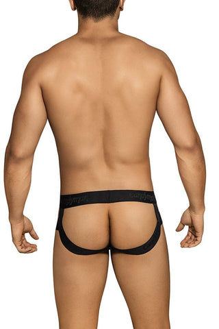 Candyman Black & Yellow Laser-cut Jockstrap