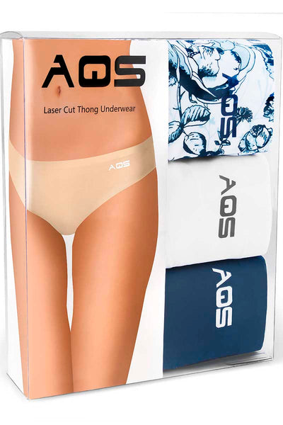 AQS 3Pk Blue Flowers Laser Cut Thong