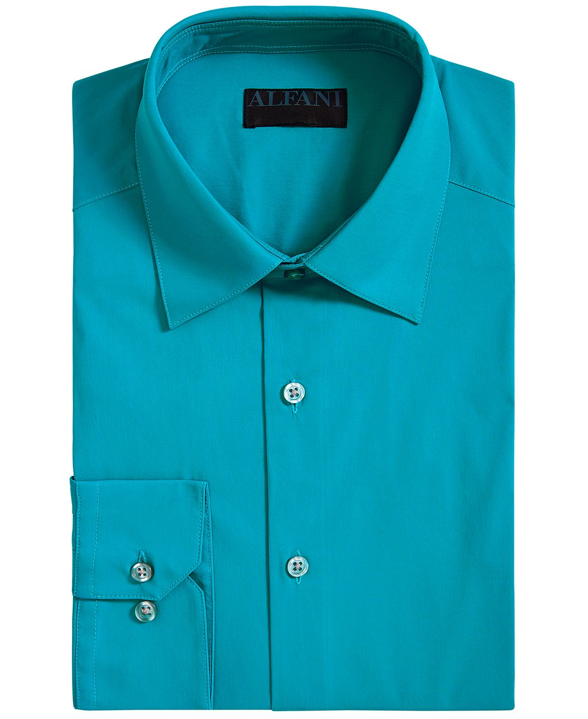 Alfani Alfatech By Slim-fit Performance Stretch Easy-care Solid Dress Shirt Aqua