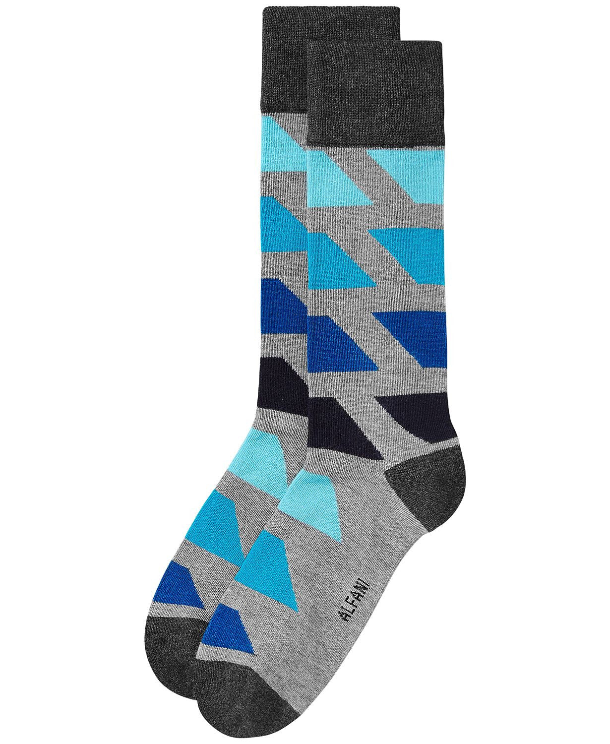 Alfani Colorblocked Socks Grey Aqua