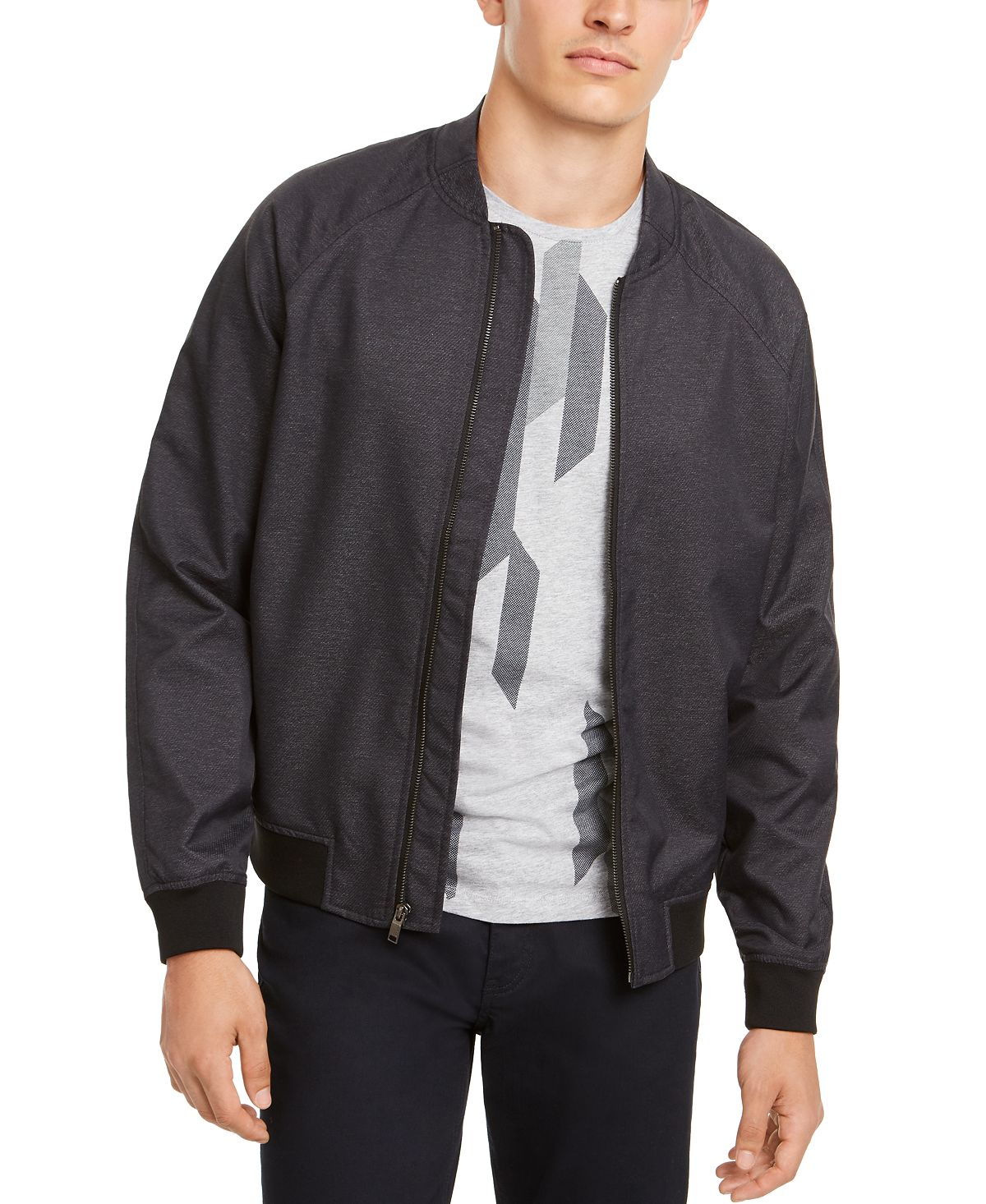 Alfani Deep Twill Bomber Jacket Midnight Blue