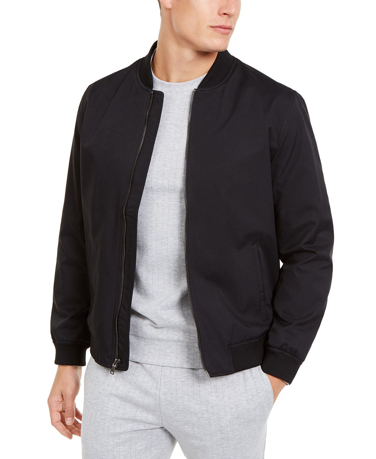 Alfani Full-zip Bomber Jacket Deep Black