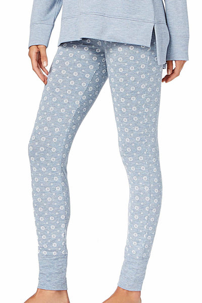 Alfani Intimates Heather-Blue Geo-Stamp Jogger PJ Pant