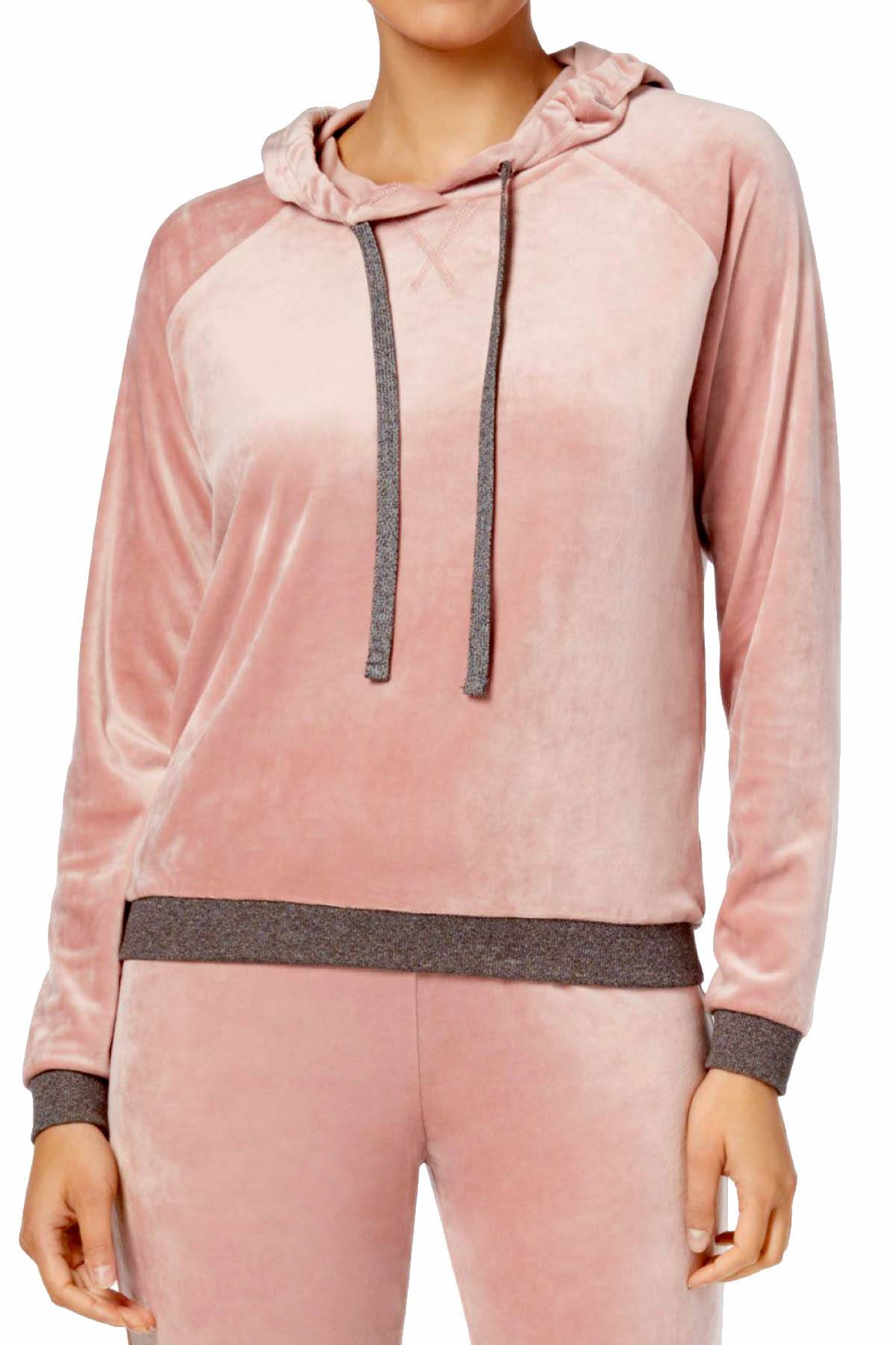 Alfani Intimates Rosy-Blush Velvet Hooded Pajama Top