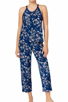 Alfani Intimates Teal Fall-Blossom Satin-Trimmed Printed Pajama 2-Piece Set