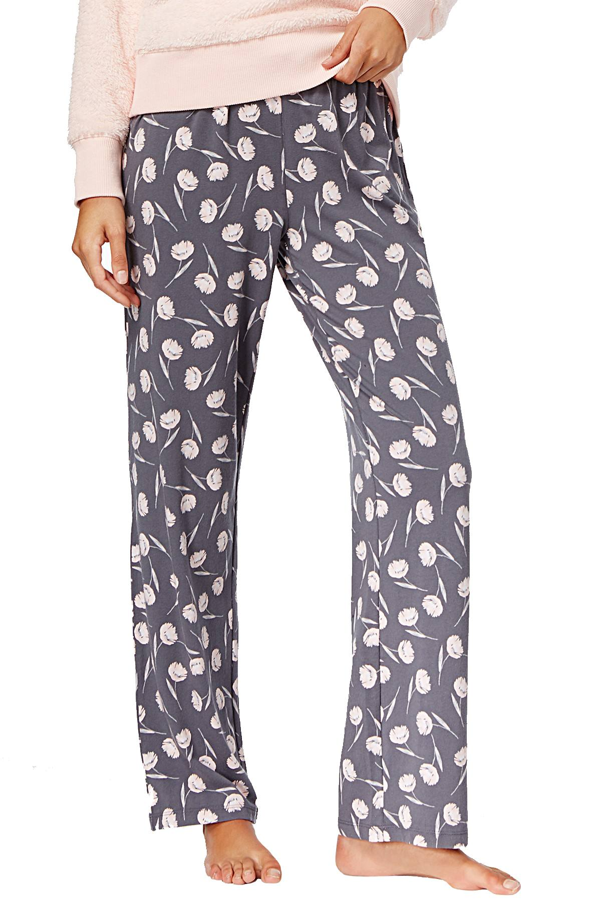 Alfani Knit Lounge Pant in Grey/Pink Floral