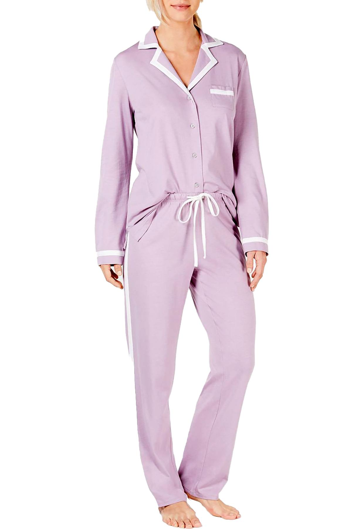 Alfani Pima Cotton Long Sleeve Top / Pant PJ Set in Lavender Glow