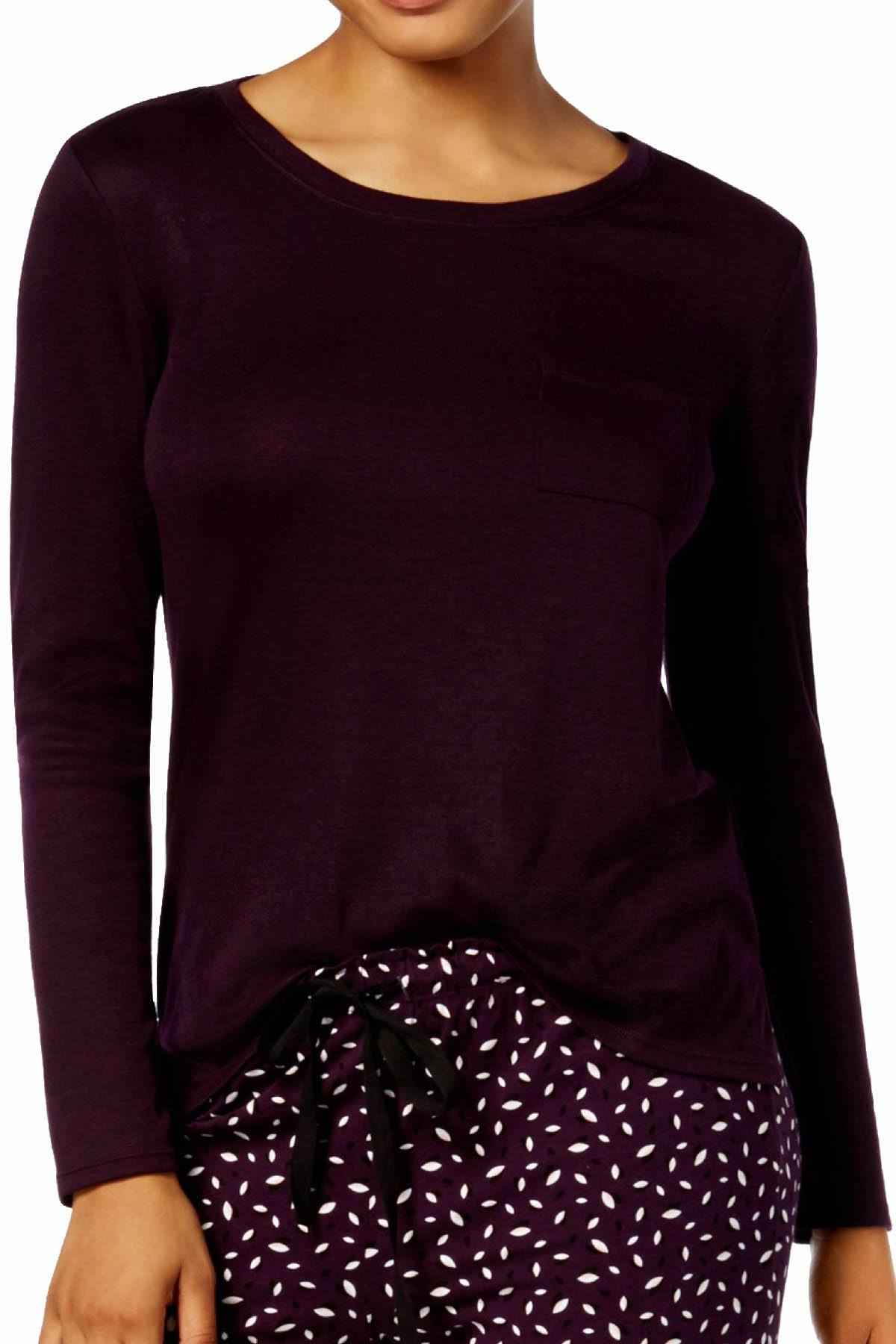 Alfani Scoop Neck Long Sleeve Lounge Top in Dark Fig