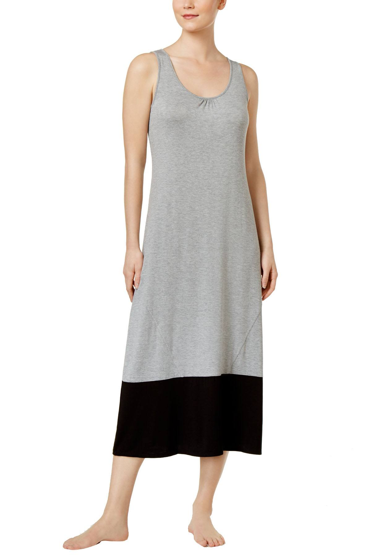Alfani Sleeveless Colorblocked Knit Nightgown in Grey Heather