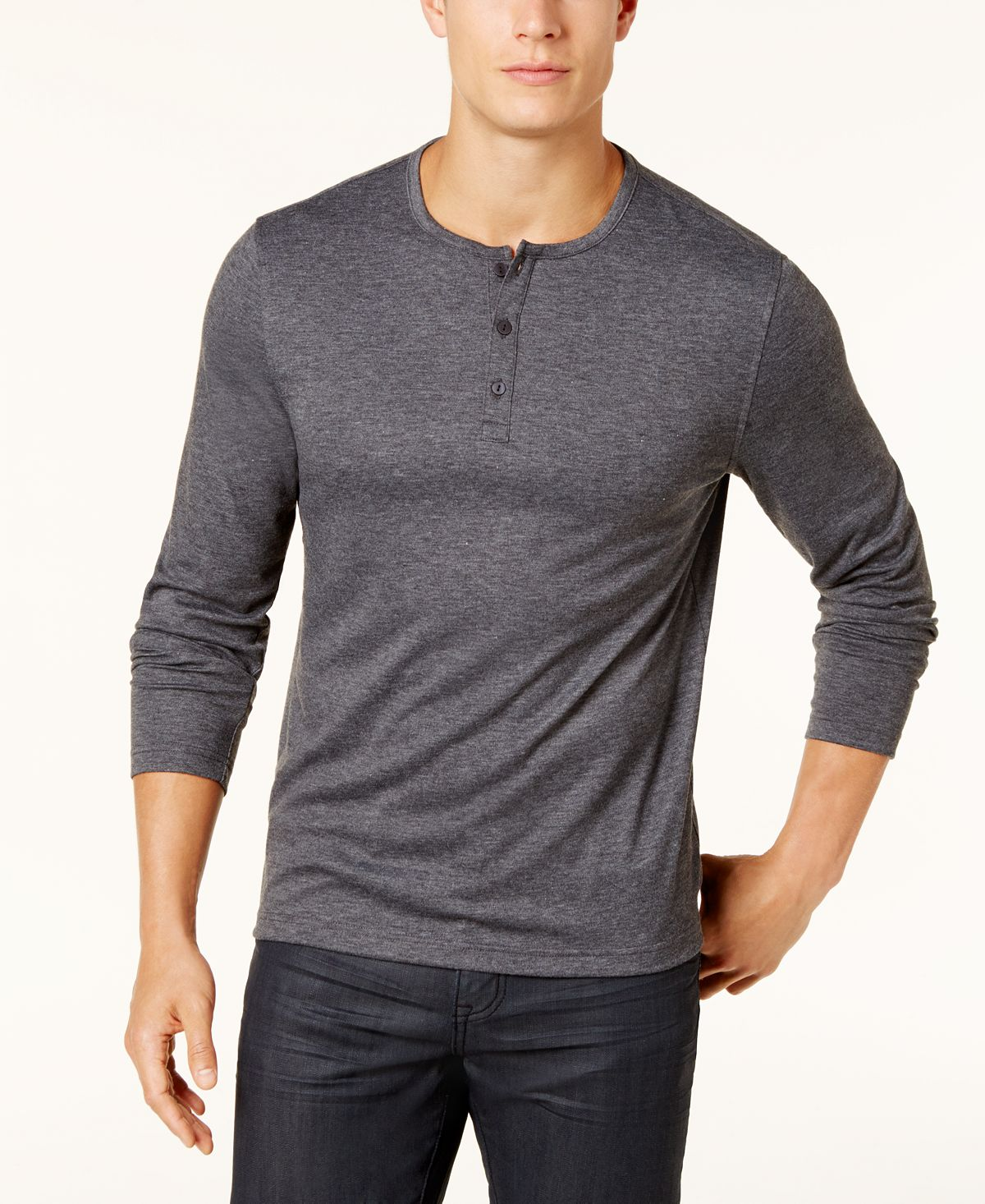 Alfani Soft Touch Stretch Henley Heather Onyx