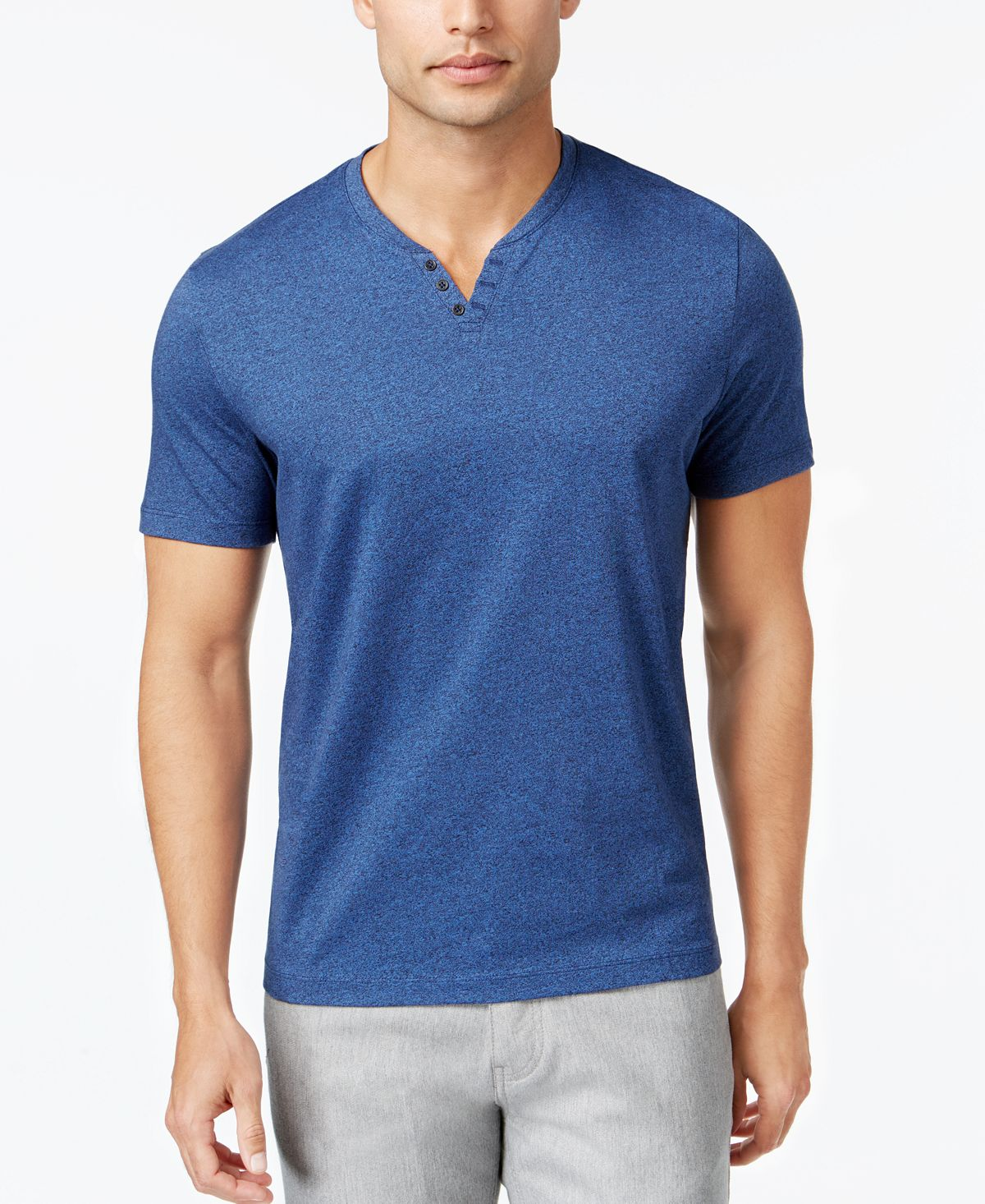Alfani Stretch Solid Henley T-shirt Indigo