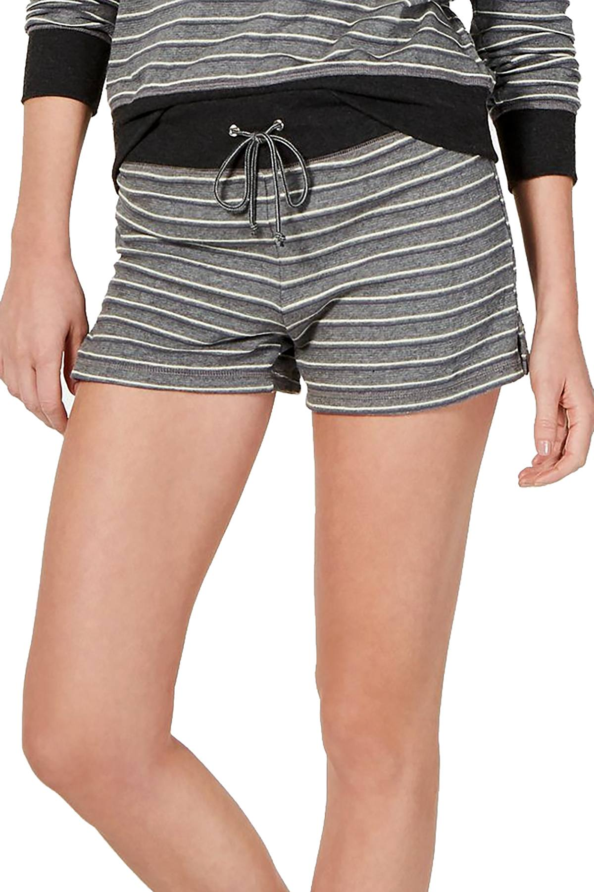 Alfani Ultra Soft Striped Pajama Shorts in Varsity Stripe Grey