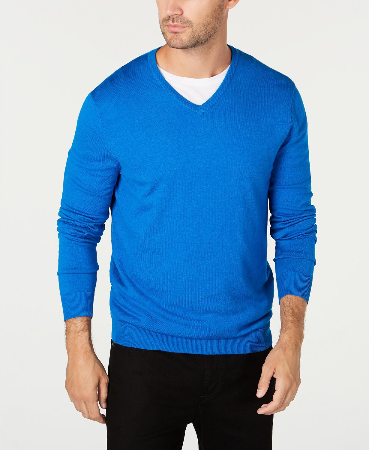 Alfani  V-neck Sweater Med Blue