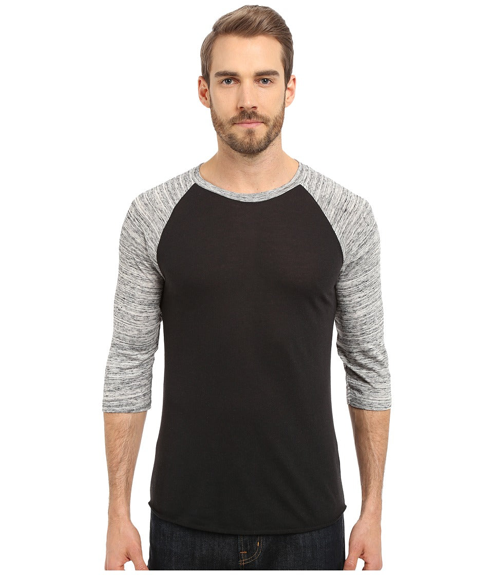 Alternative Space Dye Baseball Tee Black/Urban Grey