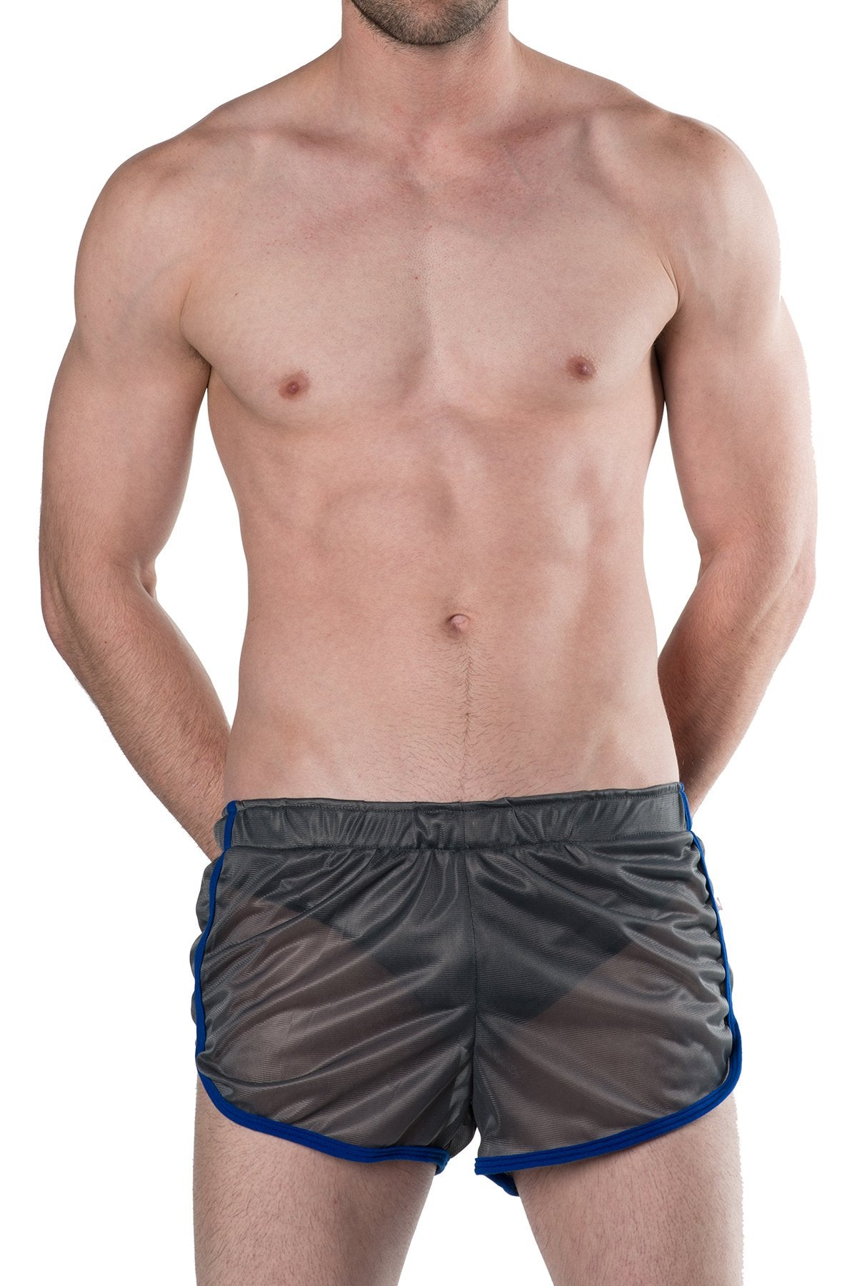 American Jock Grey/Royal Featherweight Sheer Mesh Track Short