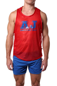 American Jock Red Sprint Javalin Tank Top