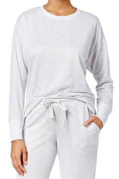 Ande Cloud-Dancer-Grey High-Low Hem Lounge Top