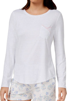 Ande Woven-Distressed-White Lush Luxe Lace-Pocket Lounge Tee
