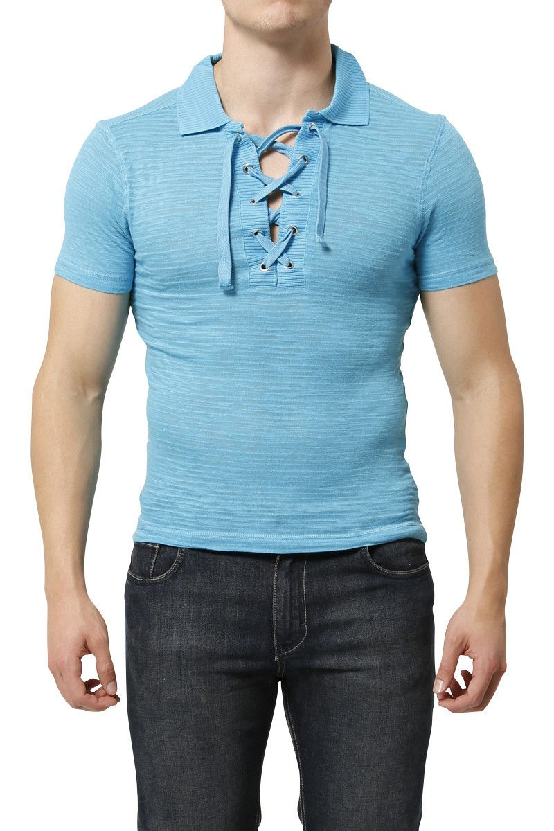 Andres Velasco Blue Torino Lace Up Top