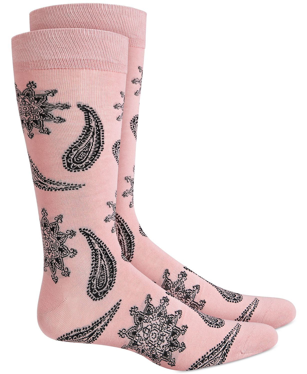 BAR III Floral Paisley Socks Pink Grey