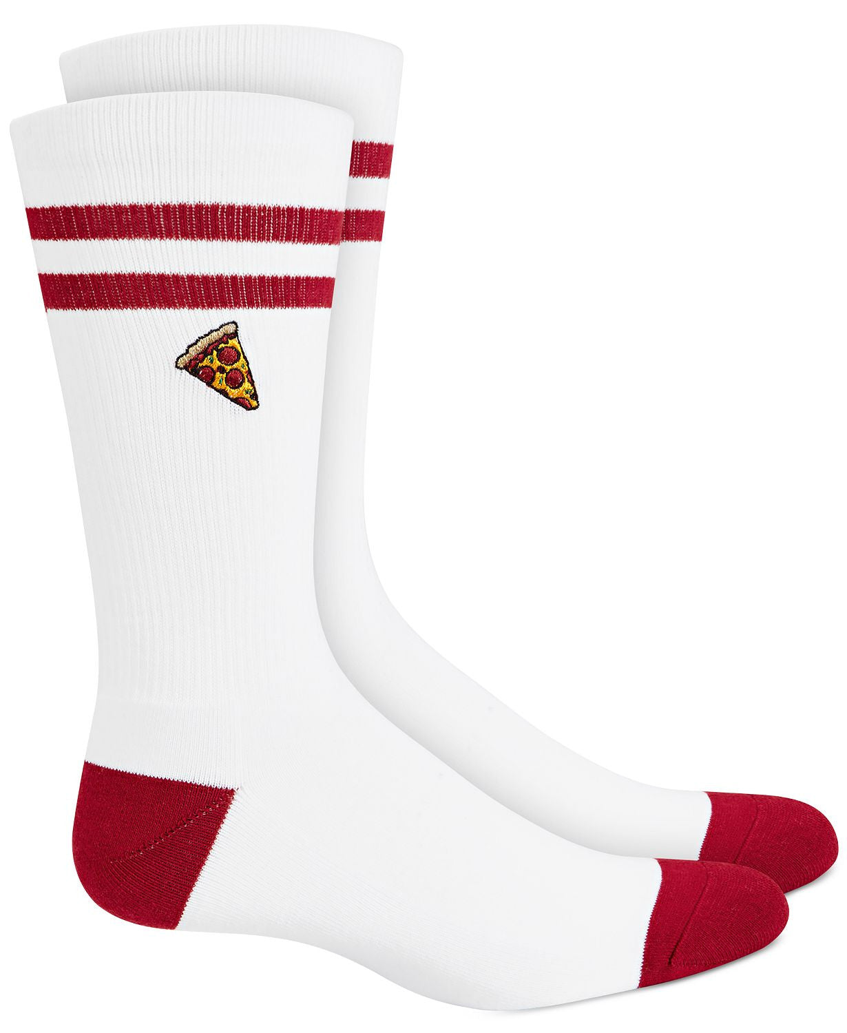 BAR III Pizza Socks White Red Combo