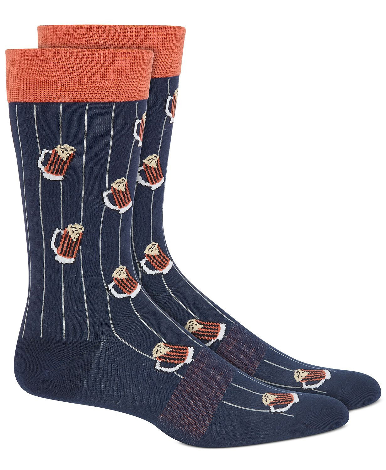 BAR III Printed Pinstripe Socks Navy Orange