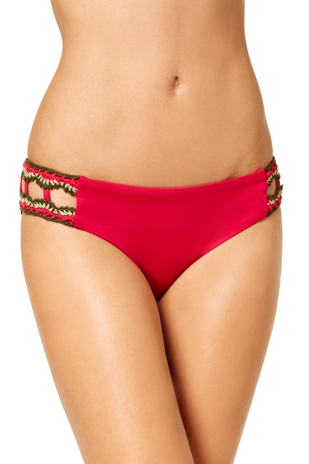 BECCA by Rebecca Virtue Medina Crochet Trim Hipster Bikini Bottom in Raspberry