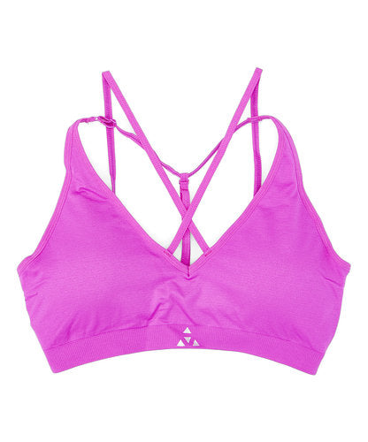 Balanced Tech Fuchsia Cross Front Seamless Bra - CheapUndies.com