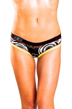 Bamboo Black/Daisy-Yellow Brazilian Panty / Swim Bottom