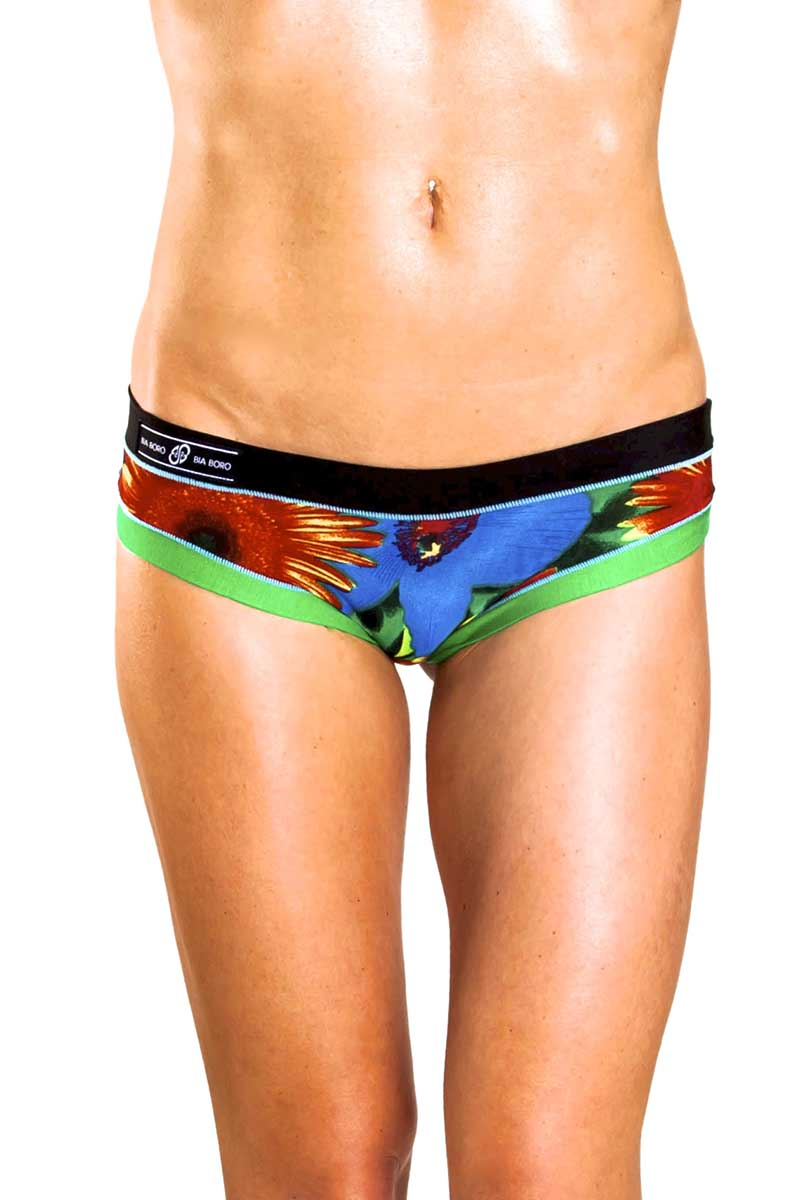 Bamboo Black/Green Floral Brazilian Panty / Swim Bottom
