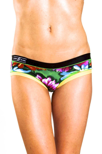 Bamboo Black/Yellow Floral Bootyshort / Swim Bottom