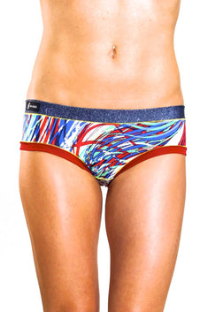 Bamboo Blue/Red Bootyshort / Swim Bottom
