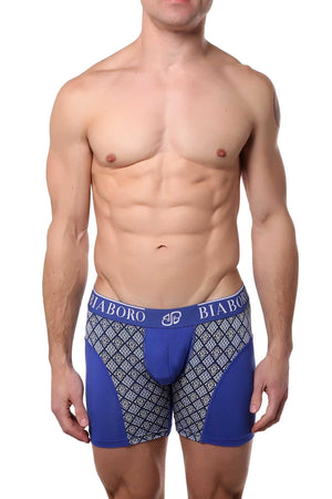 Bamboo Blue/White Paisley-Printed Boxer Brief