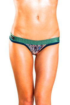 Bamboo Green/Blue Thong Panty / Swim Bottom