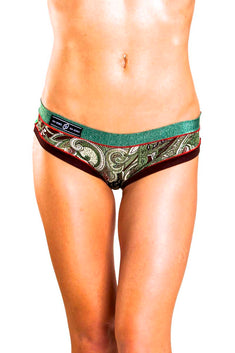 Bamboo Green/Brown Brazilian Panty / Swim Bottom