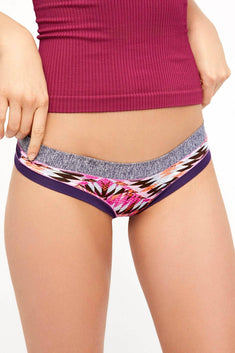 Bamboo Purple/Pink Aztec-Print Brazilian Panty / Swim Bottom