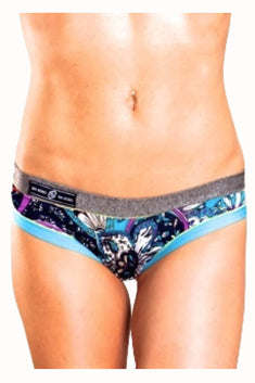 Bamboo Silver/Blue Brazilian Panty / Swim Bottom