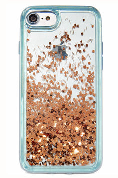 Ban.do Blue & Rose-Gold Glitter Bomb iPhone Case