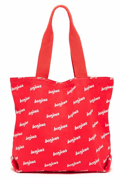 Ban.do Red Bonjour Canvas Tote - CheapUndies.com