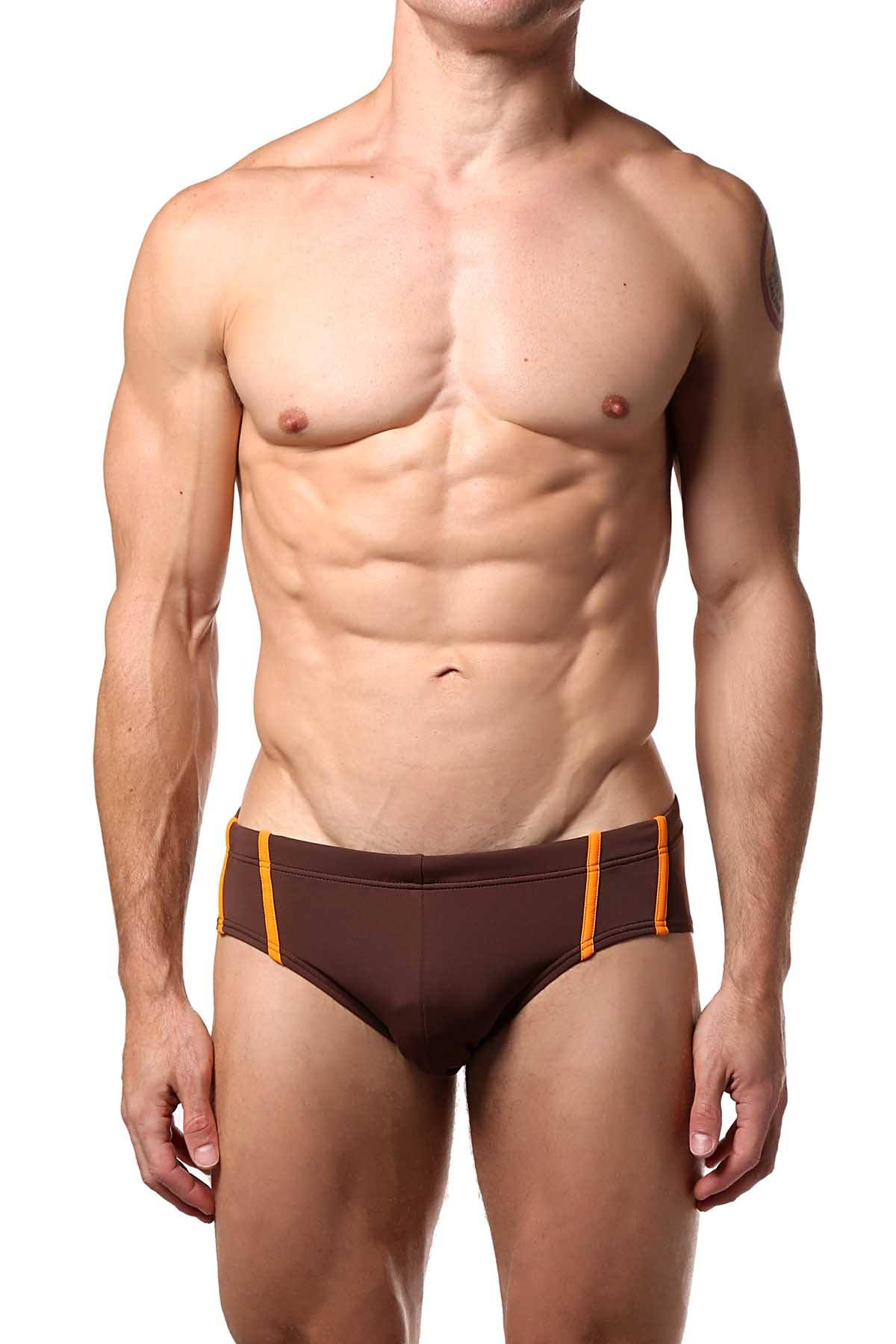 Baskit Brown-Stone Contrast Swim Bikini