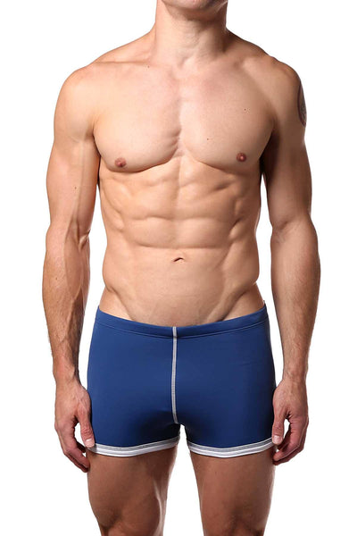 Baskit Riviera-Blue Box-Cut Swim Trunk - CheapUndies.com