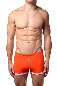 Baskit Vermillion-Orange Box-Cut Swim Trunk