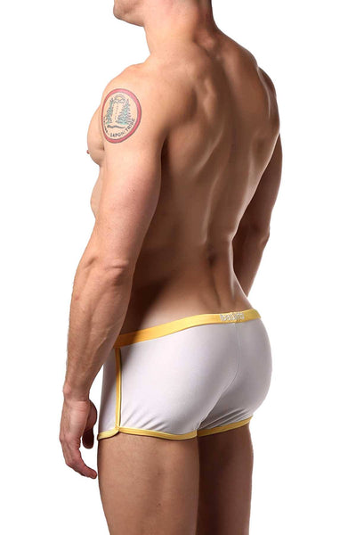 Baskit White/Orange Outlines Rise Swim Trunk