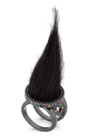 Betsey Johnson Black Faux-Fur Ring