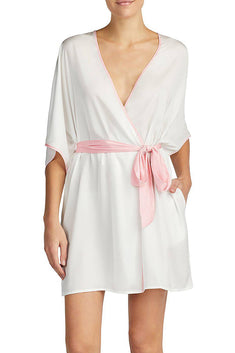 Betsey Johnson Cream-White Satin Bridal Robe