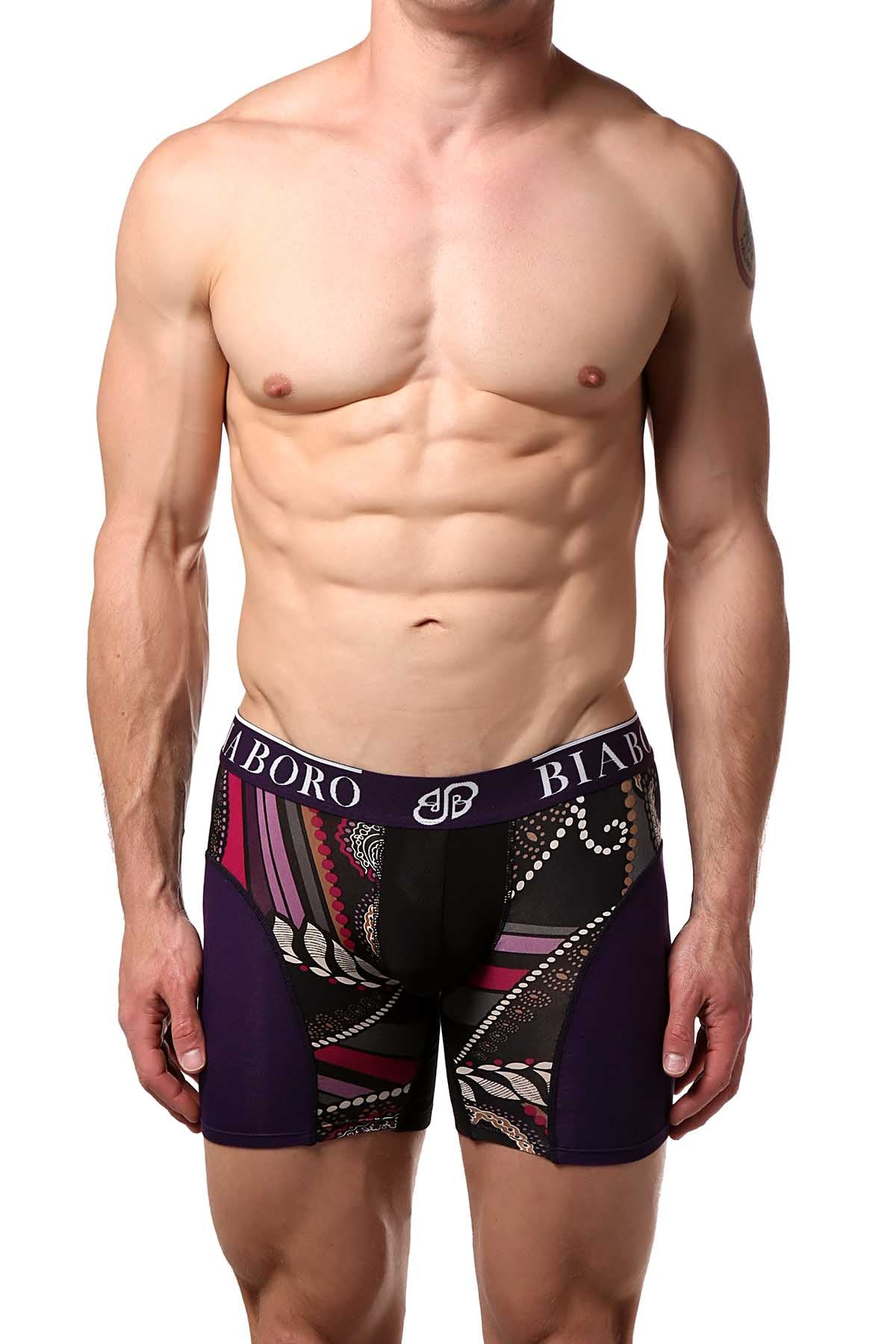 Black & Purple Bamboo Boxer