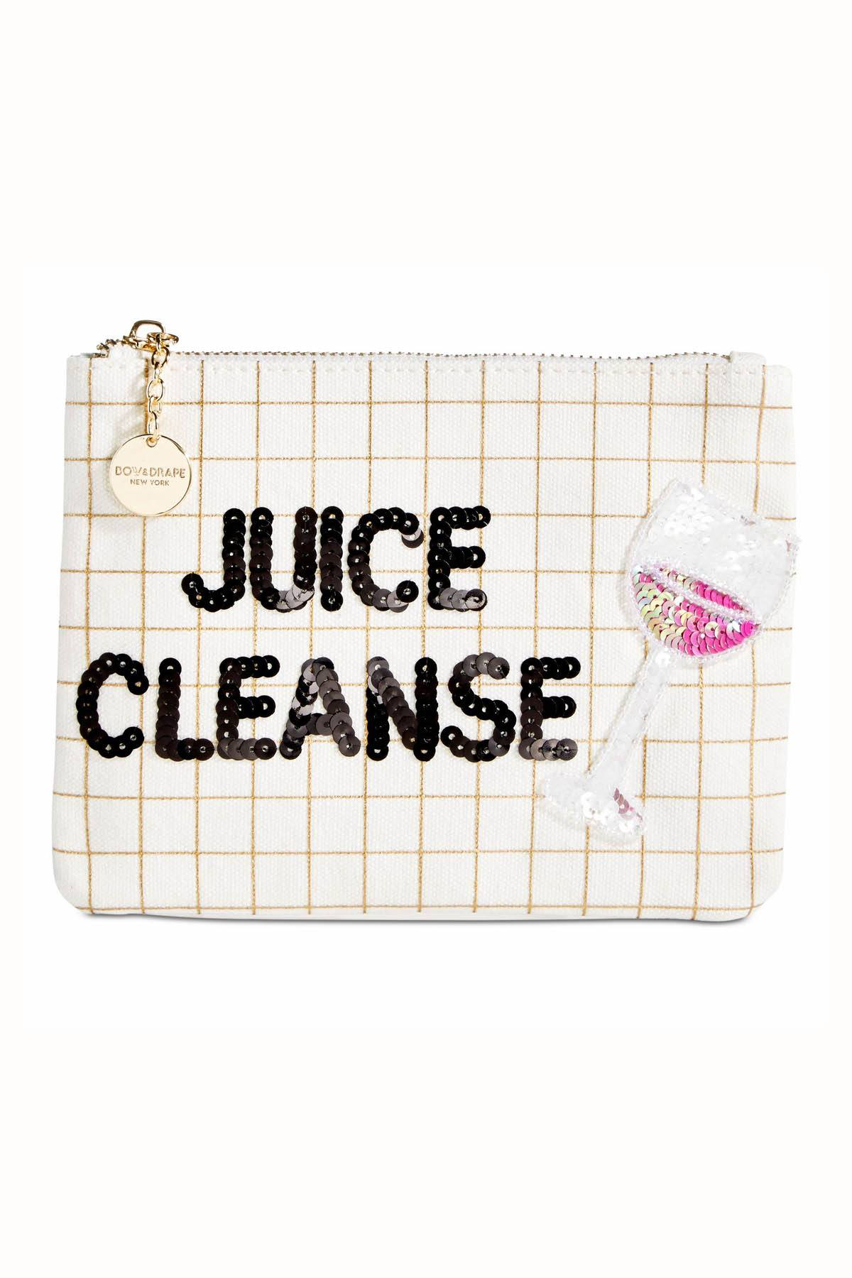 Bow & Drape Metallic-Grid Juice-Cleanse Pouch