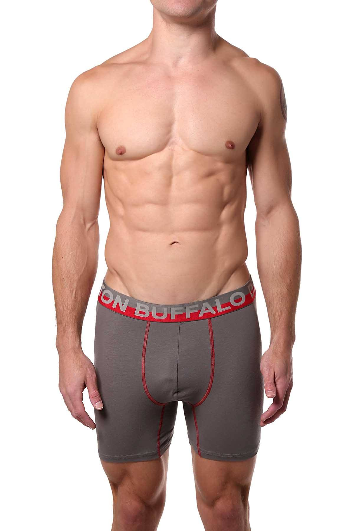 Buffalo by David Bitton Gray/Red Contrast-Trim Boxer Brief