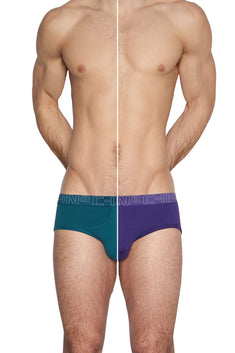 C-IN2 Tanager-Teal/Purple-Label Slash Mid-Rise Brief 2-Pack