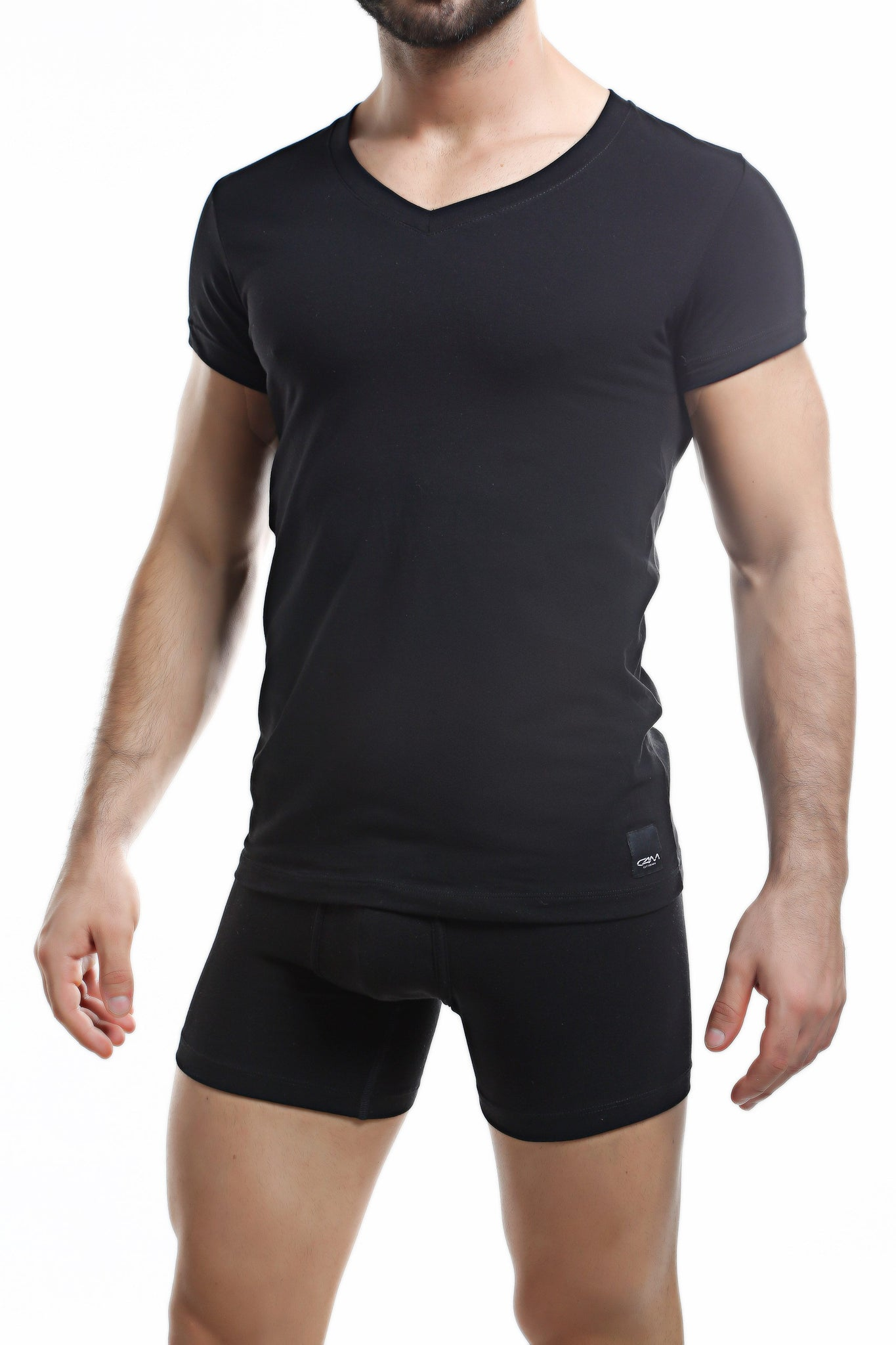 C4M Black V Neck Shirt
